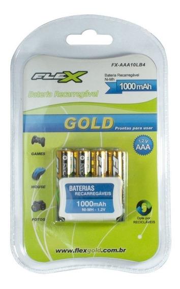 4 Pilhas Recarregável Palito Aaa Flex Linha Gold Alcalina