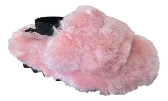 Sandalia Pantufla Casual Niña Peluche Mu 1000 Rosa 1217 Moda