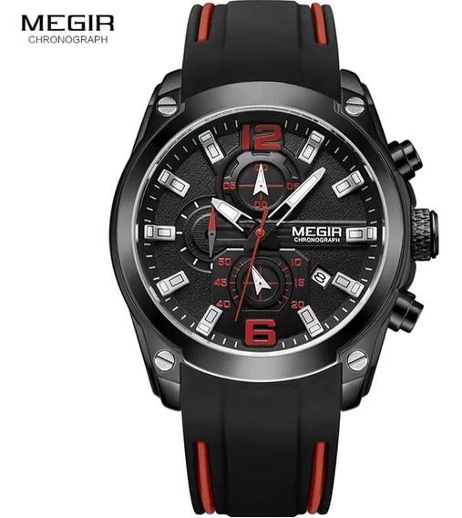 Relógio Megir 2063 Grande Masculino Pesado Funcional Barato