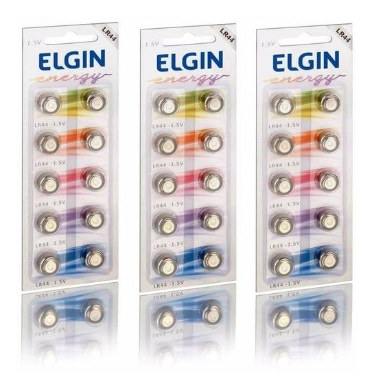 12 Cartelas C/10 Un. Bateria Alcalina Energy Lr44 1,5v Elgin