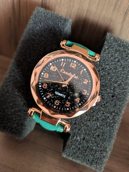Relógios Feminino De Pulso Verde Quartzo Moda Feminina