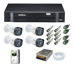 Kit Dvr Intelbras 4 Cameras Hd 720p 1tb Wd Purple (completo)