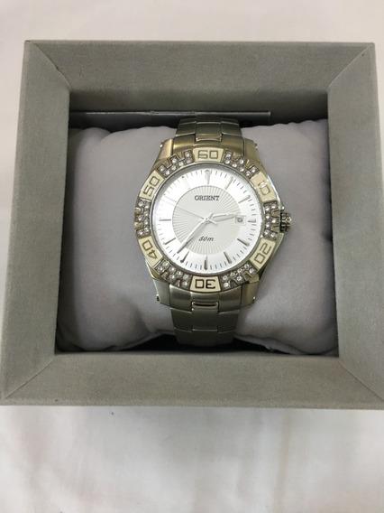 Relógio De Pulso Orient 1082 Prata Pedras Feminino Original