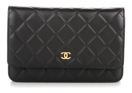 Bolsa Chanel Woc Couro Lambskin Preta Metais Dourado C/caixa