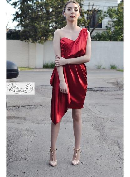Vestido De Fiesta Con Un Hombro Y Detalle Bordado