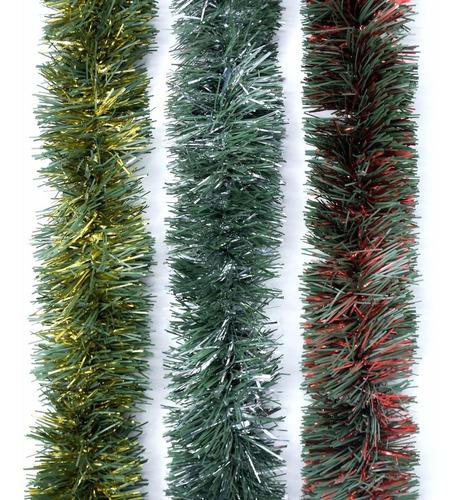 Guirnalda Navidad Verde Pino Con Metal 7,5 Cm X 2 M #295-c0