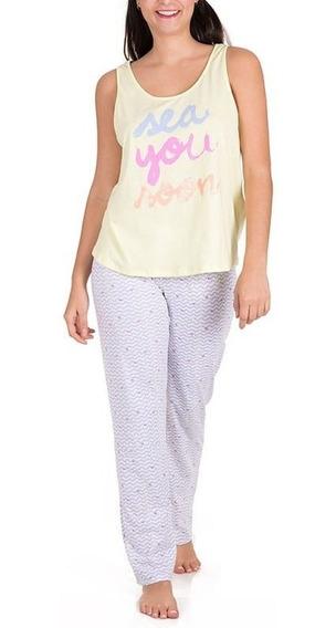 Pijama Tops Bottoms Dama Juvenil Pantalón Con Elástico