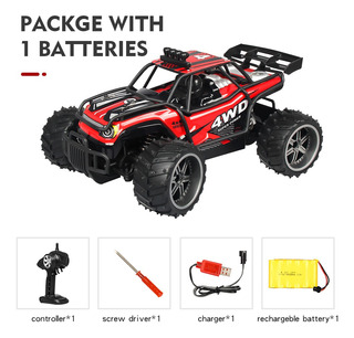 Rc Cross-country Car Toy Red Batería Individual 1:16