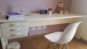 Mesa De Escritório 200x60 Branca Grande Mdp