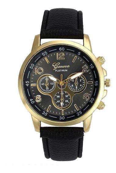 Relógio Feminino Dourado Geneva Números Preto