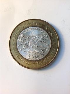 Moneda De 100 Pesos, Bimetalica, Don Quijote De La Mancha