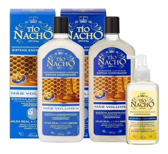 Kit Tío Nacho Engrosador Shampoo+crema+spray +cuotas!