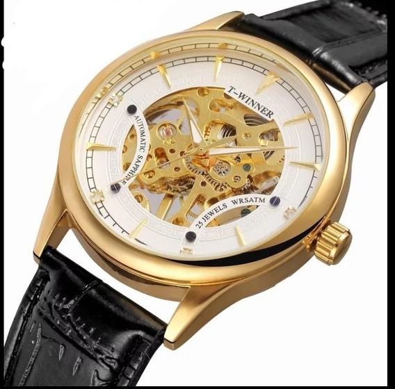 Relógio Masculino Automático Origina Luxo Couro Barato C.19
