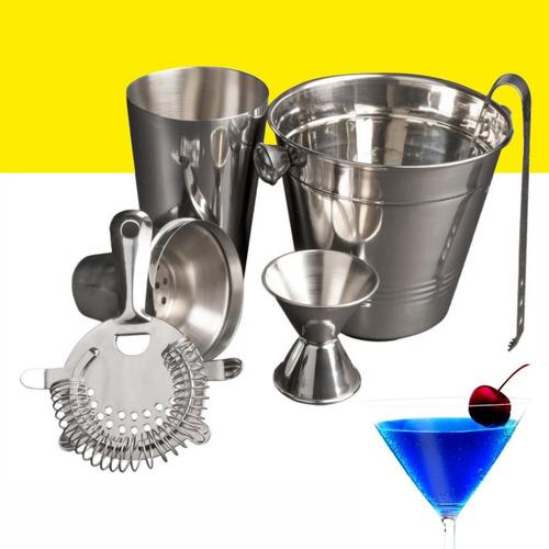 Set Cocteleria Acero Inoxidable Kit 6pz Cocktail Shaker Bar