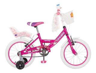 Bicicleta Nena Niña Cross Top Mega Princes R16 Bmx + Led