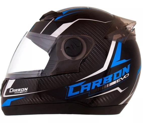 Capacete Protork 788 G5 Carbon Evo Preto/azul 60 Vis Fume