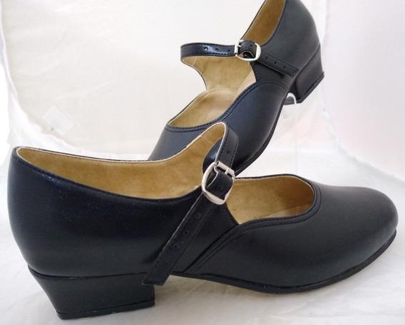 Zapato Escolta Folklórico Negro Tacón #4 Tallas 22 Al 27