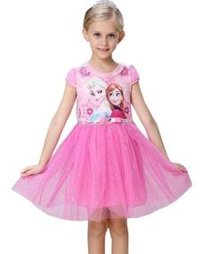 Vestido Princesa Frozen Ana Elsa Lantejoula Halloween