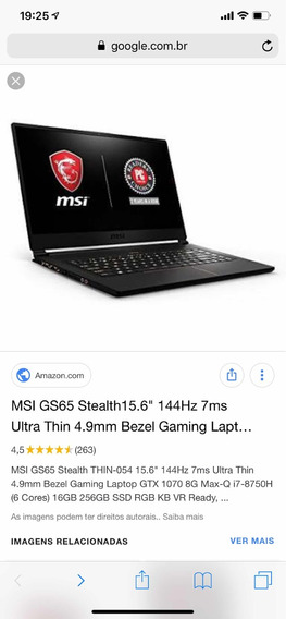 Notebook Msi Gs65 Stealth I7 8750h 16 Gb Ddr4 Gtx1070 512gb