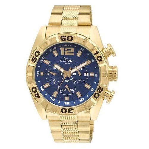 Relógio Condor Masculino Aço Dourado Azul Ou Prata Original