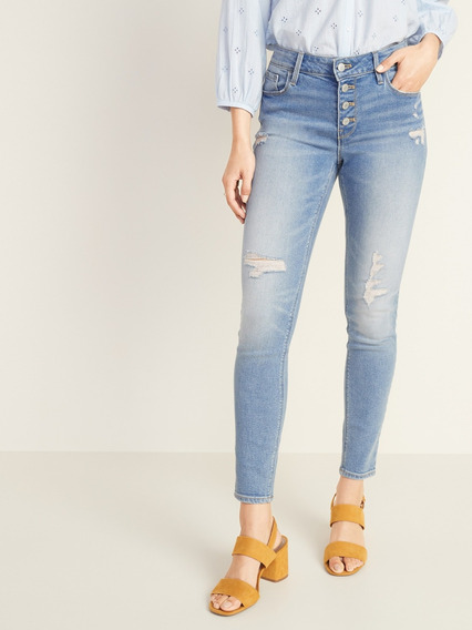 Pantalon Dama Jeans Mezclilla Super Skinny Mujer Old Navy