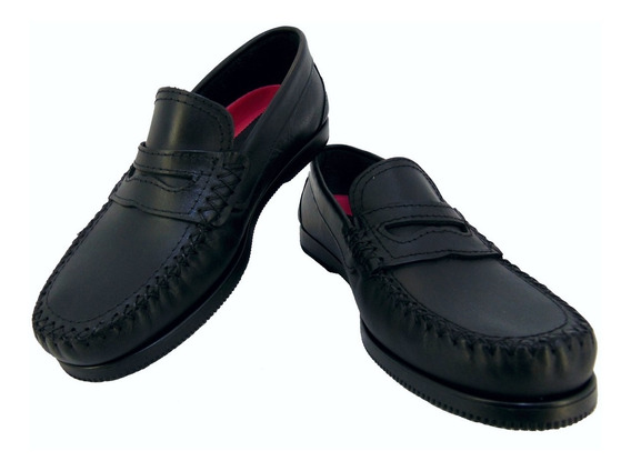Zapato Mocasín Náutico Cuero Color Negro Foot Notes Cod 701