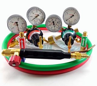 Kit Reguladores Acetileno + Oxigênio + Maçarico De Solda