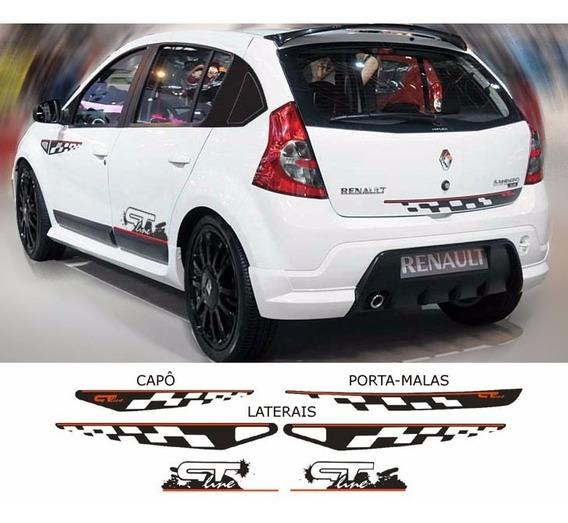 Kit 6 Adesivos Renault Sandero Gt Line 2008 2009 2010 2011/