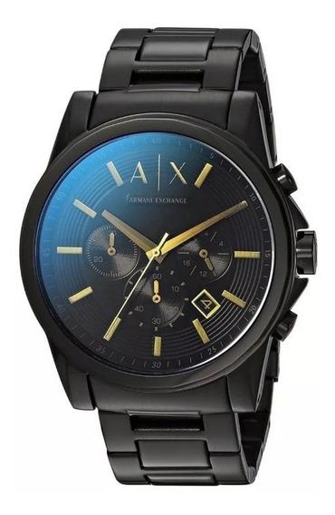 Reloj Negro Dorado Armani Exchange Cronografo Ax 2513 Usado