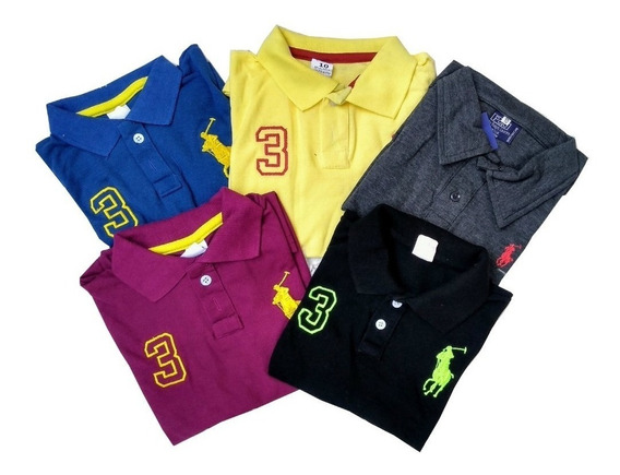 Kit 5 Camisa Polo Infantil Masculino Camiseta Menino