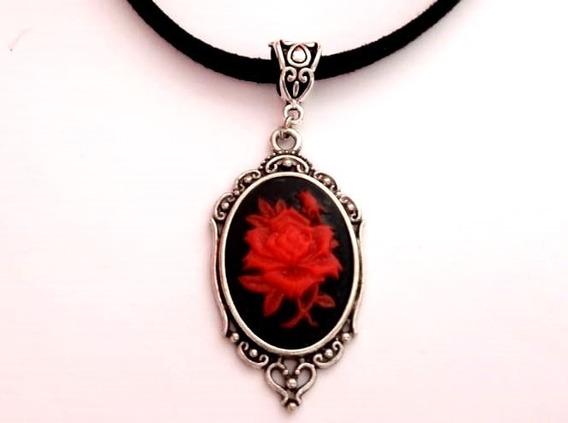 Colar Choker Camafeu Red Rose Dark Vintage Goth