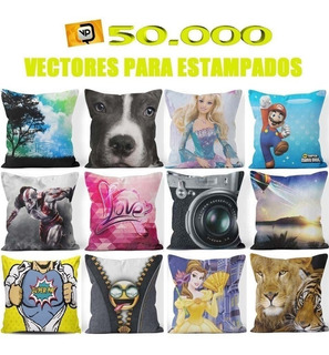 50.000 Vectores Almohadas Diseños Estampados Subliminacion