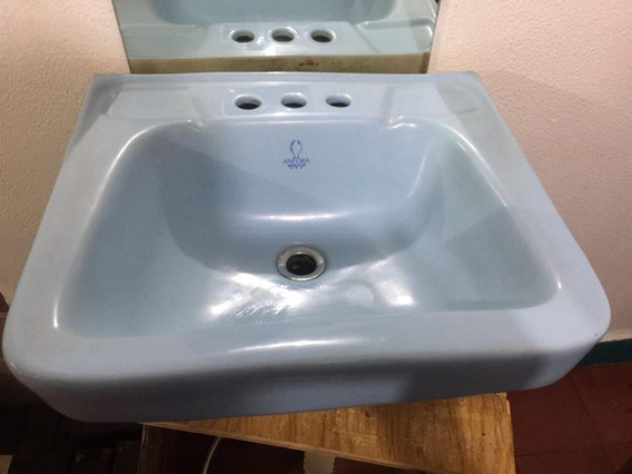 Lavabo Azul Para Empotrar, Marca Anfora