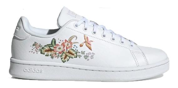 Zapatillas adidas Moda Advantage Mujer Blanco Con Flores