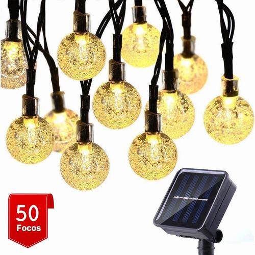 Imagen 1 de 8 de Guirnalda Solar Led Impermeable 7m 50 Focos 8 Modos