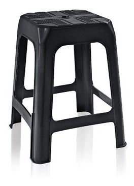 Banco Banqueta Banquinho Cadeira De Plastico Multiuso Preta