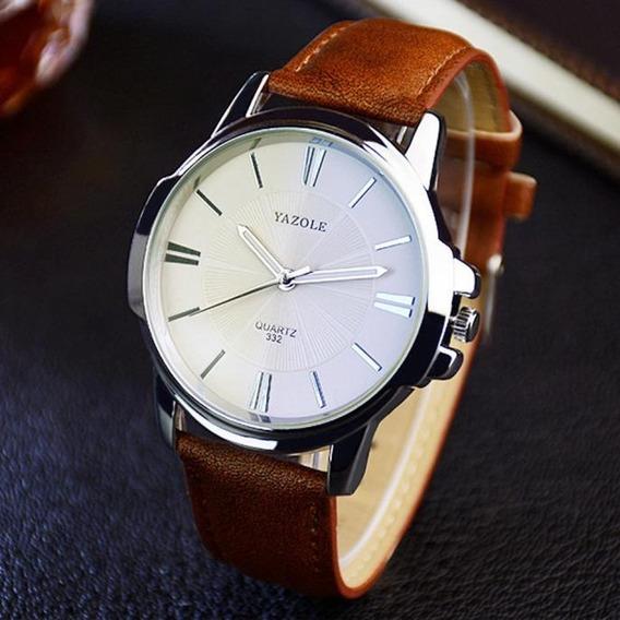 Relógio Yazole Pulseira De Couro Quartz Social/casual