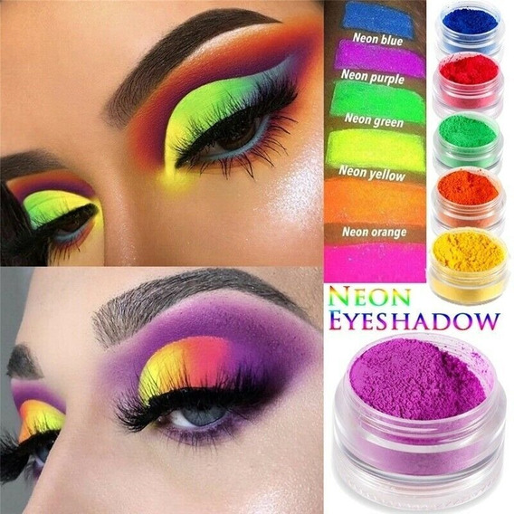Set 6 Pigmentos Neon Maquillaje Polvos Fluor