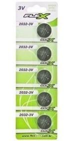 Bateria De Lítio 3v - Cr2032 Cartela Com 5 Unidades Flex