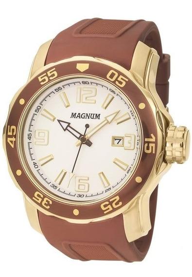 Relogio Magnum Masculino Dourado Linha Luxo Ma31908s