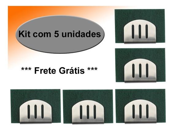 Kit 5 - Suporte Porta Esponja Em Inox 304 P/ Pia - Fixação