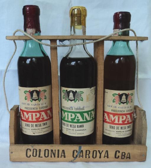 Set 3 Botellas Vino Tinto Blanco Colonia Caroya Campana