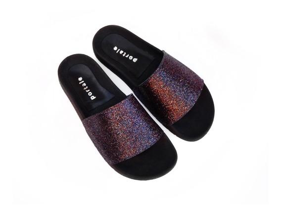 Zapatos Sandalias Mujer Ojotas Eco Glitter Brillante