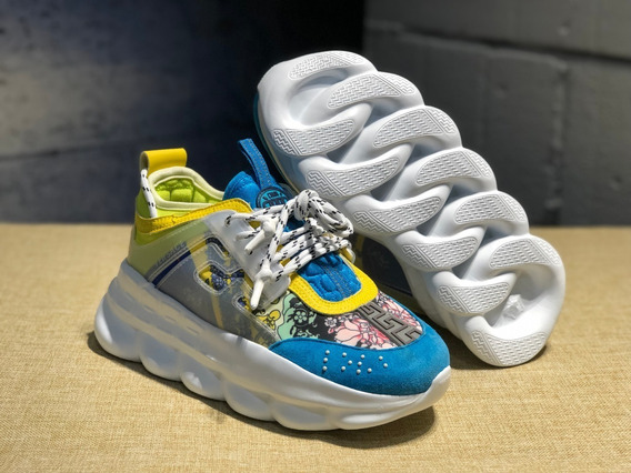 Tênis Versace Chain Reaction Yellow And Blue