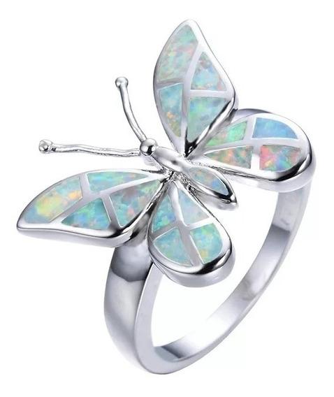 Anillo Mariposa Color Opalo Diamantina