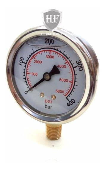 Manometro 400 Bar - Vertical Com Glicerina - R.1/4 Npt