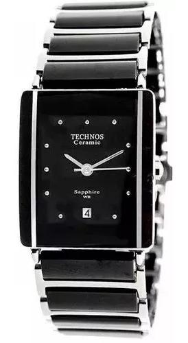 Relógio Technos Cerâmica Safira 1n12acpai/1p Preto Original E Garantia