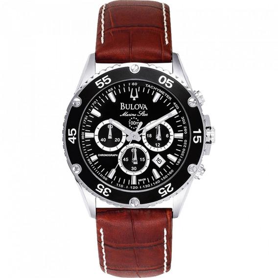 Relógio Bulova Cronógrao Pulseira Em Couro Wb30686p