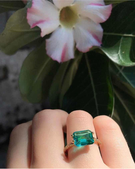 Anel Solitário Verde Cravejado Com Pedras Frete Grátis