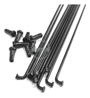 Rayos De Acero Negros 295mm X 2mm C/ Niples 36u - Ciclos